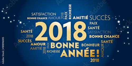фотографія  Carte de voeux – bonne année 2018 - bleu et dorée.