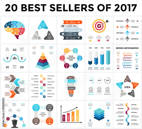Vector Infographics Set 20 Best Sellers Of 2018 Business Diagrams