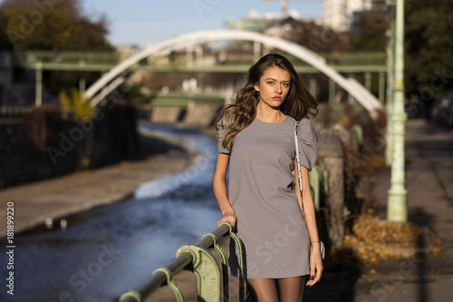 Lifestyle portrait of a fashionable woman on the street in autumn Poster