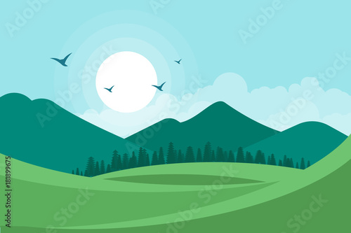 In de dag Lichtblauw Landscape vector illustration background