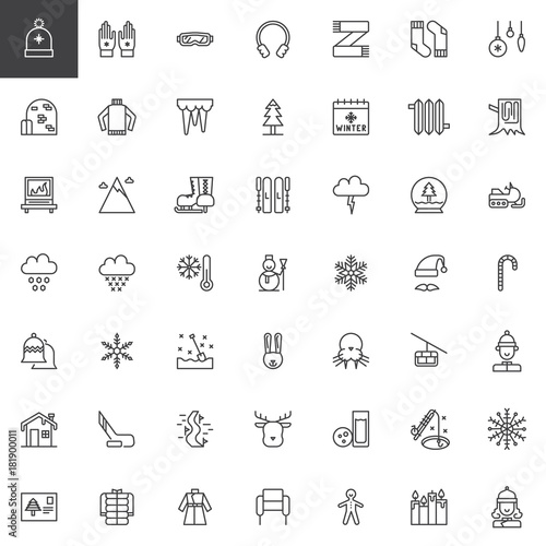 Winter Holidays Line Icons Set Outline Vector Symbol Collection