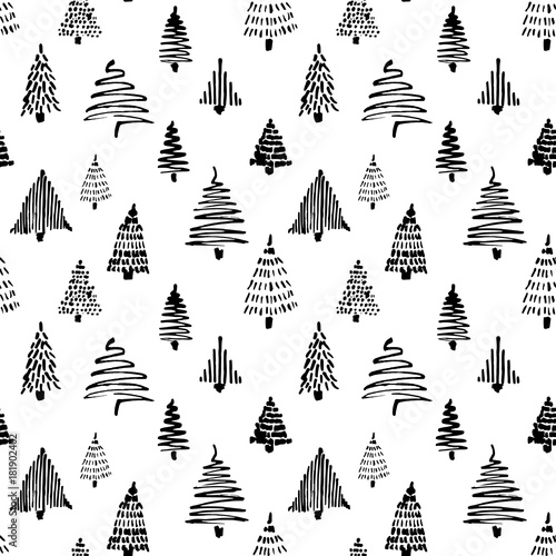 mata magnetyczna Christmass tree seamless pattern. Vector illustration. Black Hand drawn doodle sketch with ink. Design for wrapping