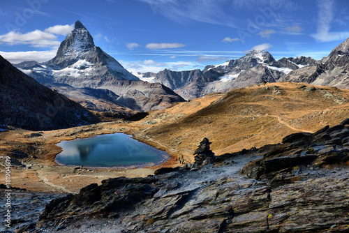 Tuinposter Reflectie Mt Matterhorn reflected in Riffelsee Lake Zermatt Canton of Valais