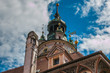 Dettagli della torre del castello di Cesky Krumlov in Repubblica Ceca