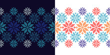 Set Of 2 Seamless Vector Backgrounds Cross Stitch Norwegian Snowflakes. Folk Motifs. Winter Pattern. Textile Rapport.