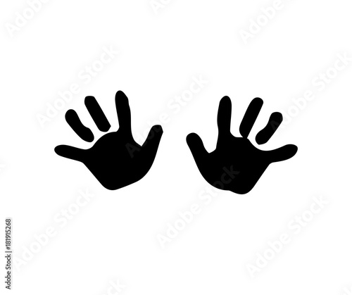 Fotografie, Obraz  Black silhouette of baby hand prints isolated on white background