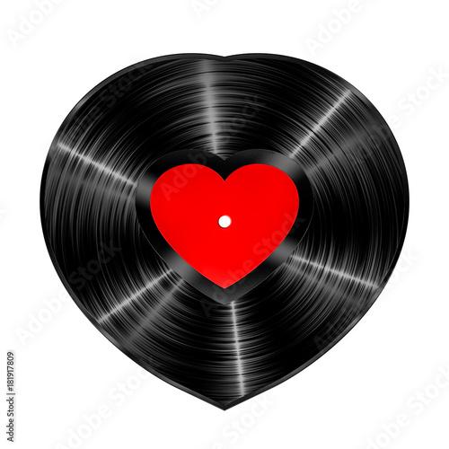 Sticker - Vinyl heart record / 3D illustration of heart shaped vinyl record