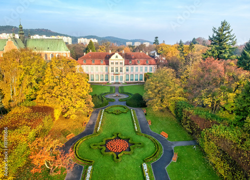 Canvas Prints Honey Beautuful park in autumn scenery - aerial view