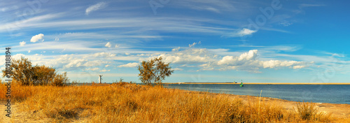 fototapeta na drzwi i meble Panoramic image of a mouth of Swina river in Swinoujscie, Poland, in Autumn