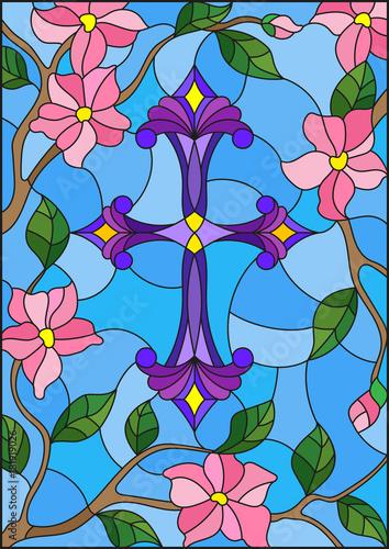 witraz-ilustracja-z-purpurowym-chrzescijanina-krzyzem-w-menchii-fl-i-niebie