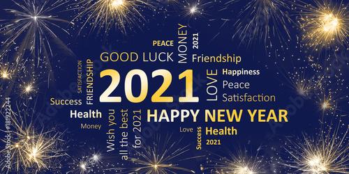 Fotografia  Happy new year 2021 greeting card