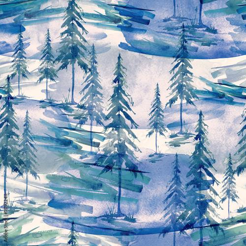 akwarela-wzor-tlo-niebieski-swierk-sosna-cedr-modrzew-fioletowy-las-abstrakcyjny-sylwetka-drzew-ilustracja
