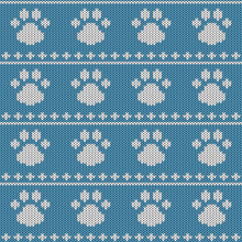 Abstract Knitted Dog Paw Seaml...