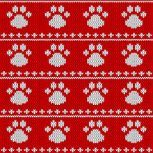 Abstract Knitted Dog Paw Seamless Pattern Background. Knit Texture For Design New Year Card, Christmas Invitation, Holiday Wrapping Paper, Winter Vacation Travel And Ski Resort Advertising Etc.
