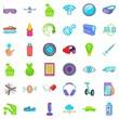 Cyber eye icons set, cartoon style
