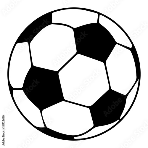 Tuinposter Bol Soccer ball icon, simple black style