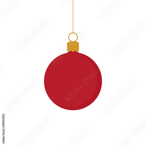 In de dag Bol Christmas red and gold ball ornament vector illustration. Festive ball hanging on a string.