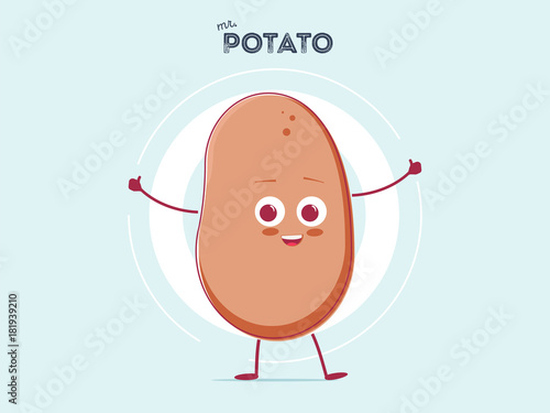 Fotomural vector funny cartoon cute brown smiling tiny potato isolated on white background