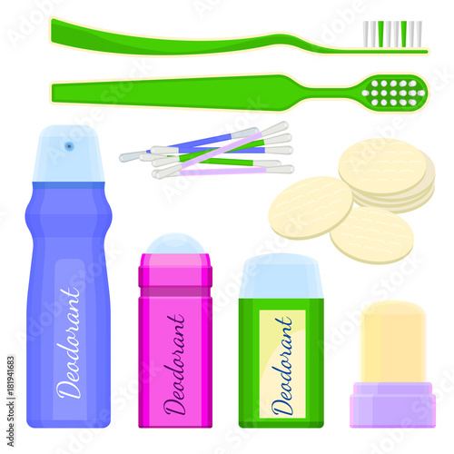 Deodorant icons and toothbrushes with sponges vector illustration Canvas Print