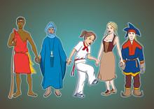 United We Stand. Illustrazione Vettoriale Sull'unità Di Persone Diverse