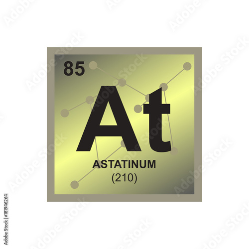Vector symbol of Astatine from the Periodic Table of the elements on the backgro Wallpaper Mural