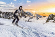 skifahrerin rast über die piste
