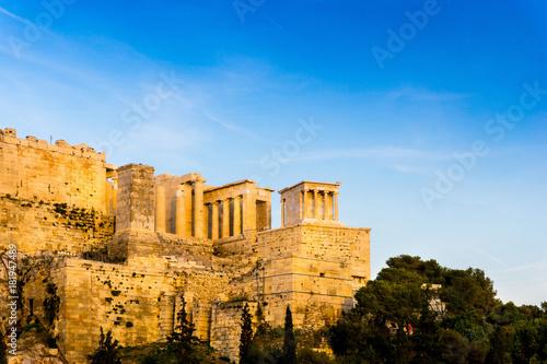 Zdjęcie XXL widok na zabytkowy stary Akropol w Atenach, Grecja