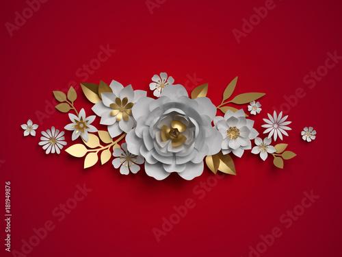 Foto  3d render, white gold paper flowers, floral border, botanical border, red backgr