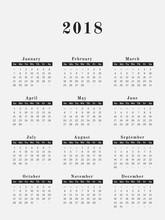 2018 Year Calendar Vertical Design