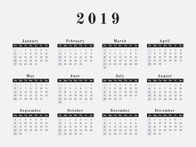 2019 Year Calendar Horizontal ...