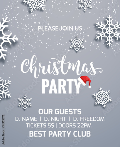 Christmas Party Poster Invitation Decoration Design Xmas Holiday Template Background With Snowflakes