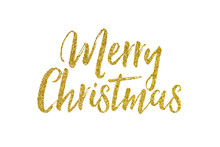 Christmas Gold Glitter Lettering Message