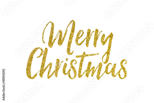 Fotografering  Christmas gold glitter lettering message