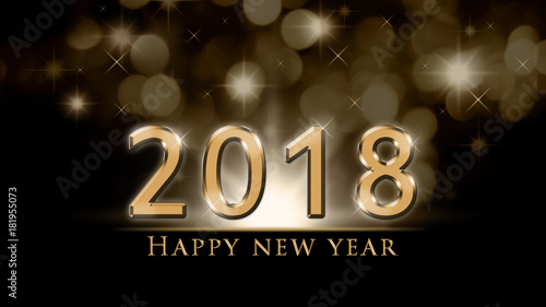 2018 new year background with gold 2018 and happy new year text on black background with