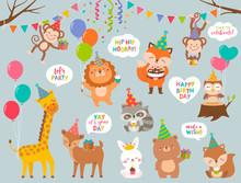 Set Of Cute Cartoon Wildlife A...