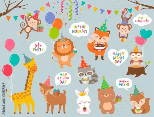 Set Of Cute Cartoon Wildlife Animals Illustration For Greeting Invitation Birthday Card Design
