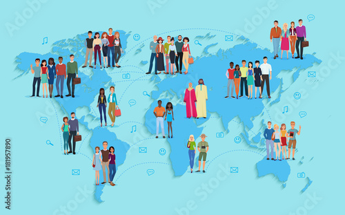 Obraz Vector illustration of social and demographic world map on blue background. Multi ethic people in groups. - fototapety do salonu
