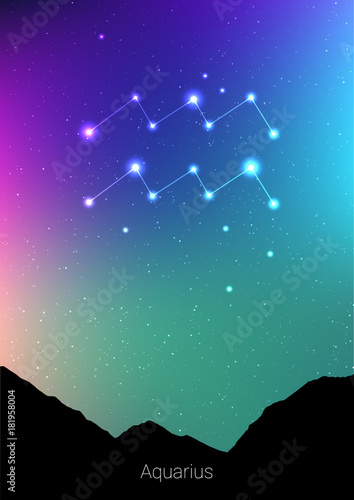 Photo Aquarius zodiac constellations sign with forest landscape silhouette on beautiful starry sky with galaxy and space behind