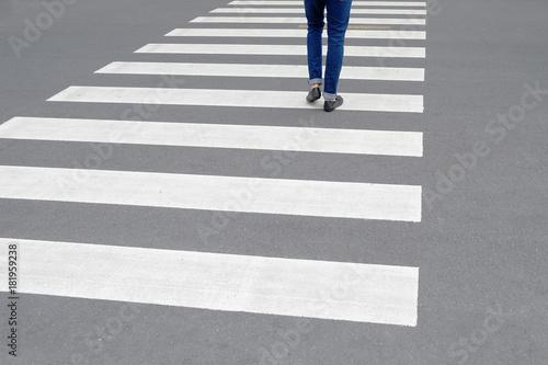 Cuadros en Lienzo One walking on the zebra crosswalk