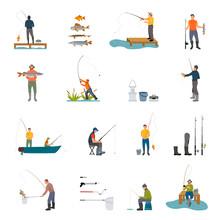 Fishing Activity Of Men On Vector Illustration