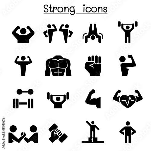 Fotografie, Obraz  Fitness & Strong icon set