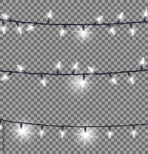 Strings of Glowing Christmas Lights Illustration Wall mural