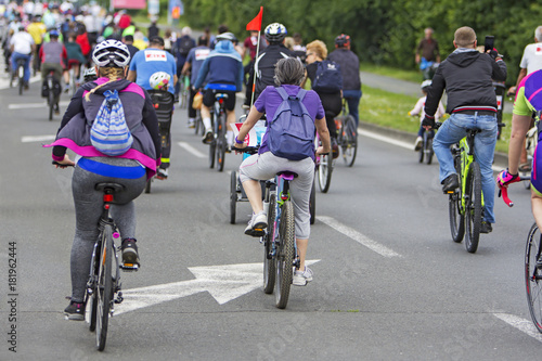 Aluminium Prints Indonesia Bicyclists in traffic public transport in the city