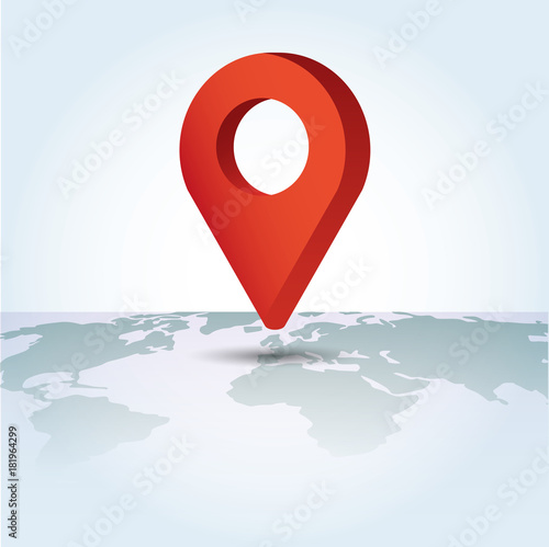 Fototapety, obrazy: Map Pointer symbol on a global map. Flat Isometric Icon or Logo. 3D Style Pictogram.