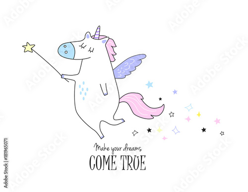 Unicorn Vector Icon Isolated On White With Motivating Text Funny