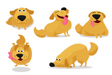 Funny Playing Happy Child Dog Vector Illustration Set. Doodle Cheerful Golden Labrador Retriever Puppies Begging, Jumping And Sniffing For Postcard, Greeting Cards, Print, Ads Poster And Web Design