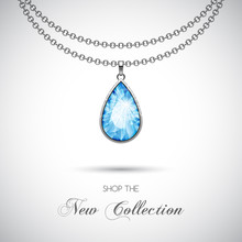 Silver Chain Necklace With Dia...