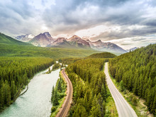 Aerial View Of Bow River Among...