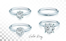 Wedding Rings Set Of Silver, P...