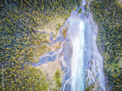 Fényképezés  Aerial view of Bow river tributary, Banff National Park, Alberta, Canada